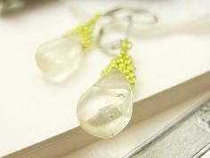 Clear Fluorite Earrings Dangle Earrings Green by JeannieRichard, $25.00