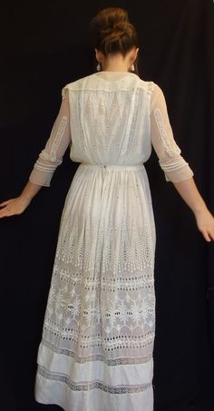 Antique 1910s White Edwardian Wedding Lawn Tea dress Sheer Shawl Tie Collar Pleats Ruffles Tiered skirt