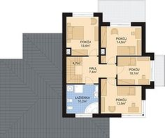 APS 266 + 2G - Rzut 1 piętra Home Design Plans, Planer, Floor Plans, House Design, Houses, Future House, Home Plans, Homes, Architecture Illustrations