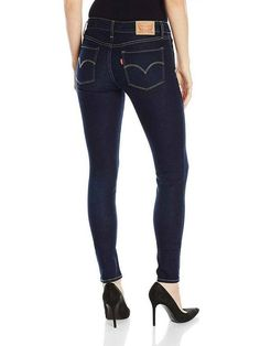Levi's 32 x 30 Womens 711 0025 Dark Blue Wash Skinny Stretch Ankle Denim Jeans Mid Rise Skinny Jeans, Skinny Fit Jeans, Ripped Jeans, Denim Jeans, Summer Jeans, Denim Patchwork, Super Skinny, Stretch Jeans, Distressed Jeans