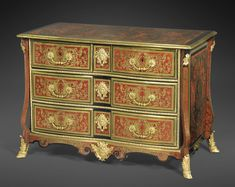A GILTBRONZE MOUNTED RED TORTOISESHELL AND BRASS MARQUETRY COMMODE, LOUIS XIV.