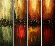 Amazon.com Santin Art-Hand Made Oil Painting The Four Elements Modern Canvas Art Wall Decor Abstract Oil Painting Wall Art Decorations on Canvas Home Decor