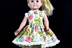 Handmade American Doll Clothes. Katrinka Designs brought to you by House of Minerva. This one Kitty Kitty $18 #americangirl