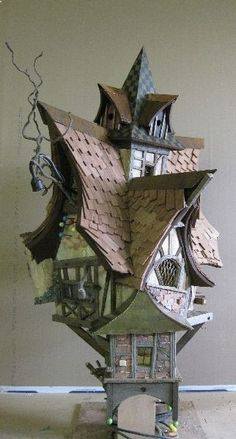 crooked birdhouse - The Simple Gardener - Vogelhaus - Fairy Tree Houses, Fairy Garden Houses, Birdhouse Designs, Bird House Kits, Bird Aviary, Bird Boxes, Kinds Of Birds, Witch House, Miniature Houses