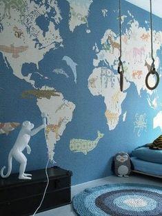 Lovely Market - News - Papier peint Inke, nouvelle collection - Papier peint XXL… Boys Room Wallpaper, World Map Wallpaper, Of Wallpaper, Casa Top, Baby Boy Rooms, Kid Spaces, Kidsroom, Wall Prints, Kids Bedroom