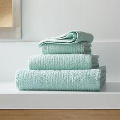Ribbed Seafoam Bath Towels | Crate and Barrel