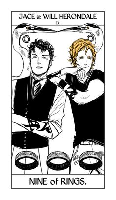 the first suit is the suit of Rings, which takes the place of the suit of Pentacles. Each Rings card shows the family ring of a particular Shadowhunter family and some of the members. Today is the Herondale boys! — Will and Jace, looking scampy together. (Edmund and James probably belong there somewhere too, but wouldn't fit. :)