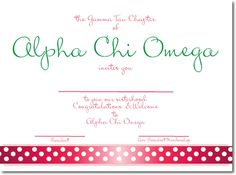 Cute Alpha Chi Omega Sorority Bid Day Cards with ribbon design - custom designed for your chapter! http://www.trulysisters.com/alpha-chi-omega-sorority/bid-day-cards/invitation-style-b