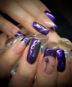 Gel, ColorGel Amethyst Fine French, Silver Zippers & Purple Foil www.wickednails.nl https://www.facebook.com/wickednails.nl