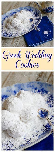 Greek Wedding Cookies – Kourabiethes / Kourabiedes wedding food – Our wedding ideas Greek Sweets, Greek Desserts, Greek Recipes, Just Desserts, Lebanese Recipes, Fast Recipes, Delicious Desserts, Healthy Recipes, Greek Cookies