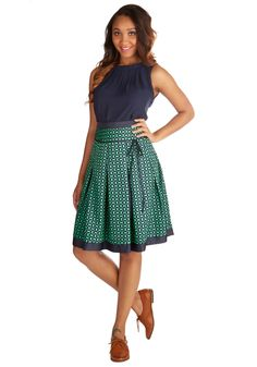 Pass Me the Mic Skirt. You feel poised and confident wearing this geometric-print midi skirt on stage at open mic with your guitar! #green #modcloth