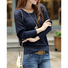 Wholesale Fashionable Women's Scoop Neck Dolman Sleeve Openwork (PURPLISH BLUE,ONE SIZE(FIT SIZE XS TO M)), Sweater & Cardigan - Rosewholesale.com