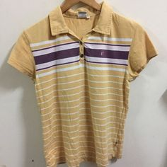 Hang Ten Women's Striped Yellow Polo Shirt Sz L | eBay
