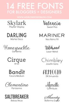 ≡ 14 Free Fonts for Bloggers + Designers