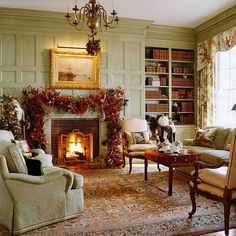 Christmas Living Room-I don't have a mantle but I am thinking of hanging garland like this. Too much red in this one.