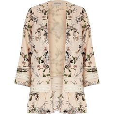 River Island Cream floral print lace kimono (€85) ❤ liked on Polyvore featuring jackets, coats, kimonos, cardigans, outerwear, tops, cream, women and river island