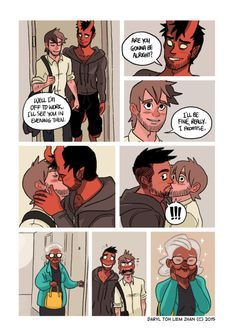 """026 - A kiss before going to work. """"I think Mrs. Thompson from next door shipped you guys hard."""" - Diego / Written and illustrated by tohdaryl. #tohdaryl #tobiasthedemonandguy"""