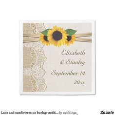 Lace and sunflowers on burlap wedding paper napkin