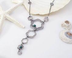 Elegant, Organic Sterling Silver & Malachite Pendant Necklace  --  Asta Series