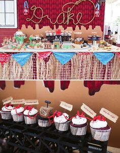 Wild, Wild West Cowboy Dessert Table (with a train robbery theme!)