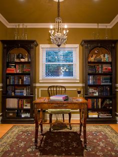 Library - traditional - home office - phoenix - Chris Jovanelly Interior Design Bookcase Plans, Built In Bookcase, Bookcase Desk, Wood Bookshelves, Home Office Design, Office Decor, Office Ideas, Office Layouts, Office Designs