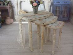 12th scale shabby chic nest of tables by shabbychicminis on Etsy, $47.00