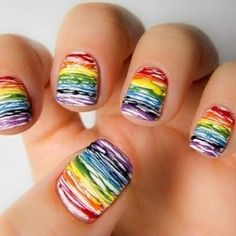 Drizzle Rainbow Nails