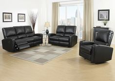 BRYANT Kick back in style with the Bryant living room set, featuring a sofa, loveseat, and chair available with either power or manual reclining mechanisms. Each piece is finished in smooth black reconstituted leather over relaxing cushioning. Bryant is sure to bring a new level of comfort and class to any modern home.