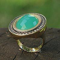 Gold plated aquamarine cocktail ring, 'Aqua Diva'