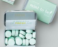 """DIY Wedding Favors: Buy tins of mints in bulk, and make your own labels, complete with a just-corny-enough pun about a marriage that's """"mint to last"""" or love being a """"breath of fresh air."""" (It's your wedding! You can be as corny as you want.)"""