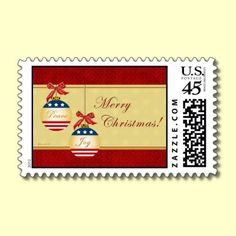 Patriotic Christmas Ornaments US Postage Stamp by XG Designs NYC. #Patriotic #Christmas #Stamp