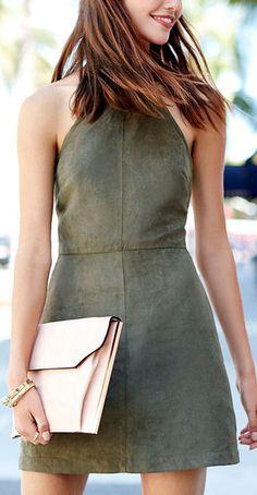 Olive Green Halter Dress ❤︎
