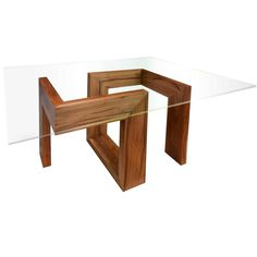Modern 21st-Century solid timber table with glass top  | From a unique…
