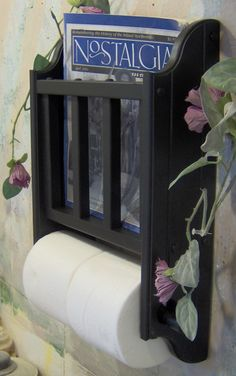 Choose your color Magazine Rack with Toilet Paper tissue Holder made in the USA. $32.95, via Etsy.