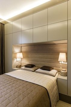 A cantilevered bed conceals more storage space, keeping clutter to a minimum in the calming room.