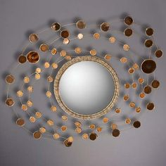"""Constellation"" Miroir Sorciere in Talosel resin with colored, silvered mirror by Line Vautrin, c. 1950."