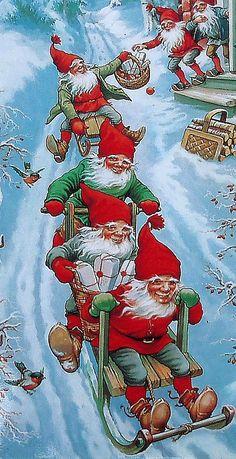 gnomes vintage Christmas scene, love the gnomes where I got this. ;)