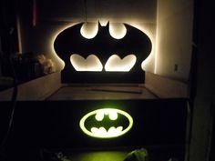 Twin bed custom bed Batman bed Superhero bed by CraftsFromKentucky Cama Batman, Batman Bedroom, Superhero Room, Kids Bunk Beds, Childrens Beds, Headboards For Beds, Headboard Ideas, Wood Headboard, Bedroom Bed