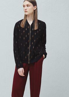 Metallic embroidered bomber jacket -  Women | MANGO