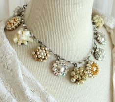 Cream and Linen Halo Assemblage necklace vintage up cycled clip on earrings antique jewelry stunning statement wedding bridal warm rosary Vintage Jewelry Crafts, Cute Jewelry, Jewelry Art, Jewelry Gifts, Jewellery Box, Jewelry Sketch, Handmade Jewelry, Vintage Necklaces, Dainty Jewelry