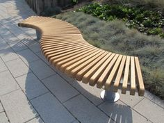 RailRoad Loop narrow bench assembly comprising curved Starter & End modules in wave-form layout Farmhouse Outdoor Benches, Curved Outdoor Benches, Outside Benches, Outdoor Garden Bench, Curved Bench, Wooden Garden Benches, Patio Bench, Diy Bench, Outdoor Seating