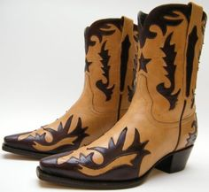 WOMENS-CHARLIE-1-HORSE-LUCCHESE-FANCY-TAN-BROWN-LEATHER-OVERLAY-COWBOY-BOOTS-6-B