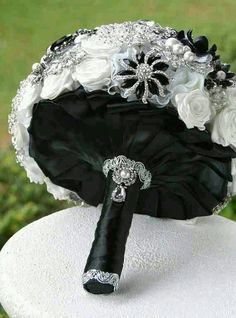 Black, white, silver bouquet