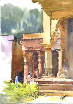 Line & Strokes: Watercolour landscapes Watercolor Art Landscape, Watercolor Architecture, Watercolor Paintings Abstract, Watercolor Drawing, Watercolor Illustration, Landscape Art, Landscape Paintings, Indian Art Paintings, Indian Artwork