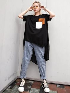 Irregular Swallow Tail T-shirt - cicklive Ropa Hip Hop, Moda Outfits, Foto Fashion, Grunge Style, Personalized T Shirts, One Piece Swimwear, Keds, Dame, Shirt Designs