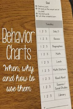 Behavior Charts - When, Why, and How to Use Them | What I Have Learned - Adding goals to the top and a rubric has made all the difference this year!