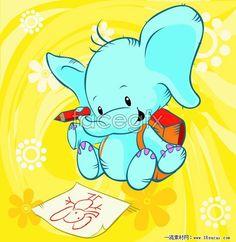 Cartoon elephant map vector