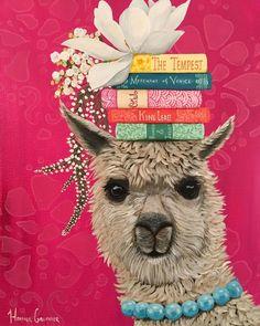"""""""Drama Llama"""" (technically it's a drama alpaca but that's not as rhymey ? Alpacas, Funny Llama, Cute Llama, Llama Face, Llama Llama, Llama Arts, Diy Painting, Pet Birds, Illustration Art"""