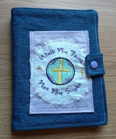 Walk by Faith Denim Cover Small Note Pads, Journal, Jacket, Reusable by DenimDelightsByLinda on Etsy