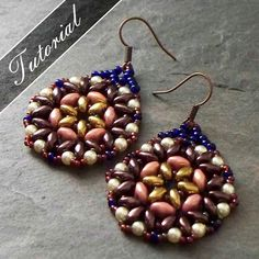 Bead Pattern, Bead Weaving Tutorial, Lotus Super Duo Earrings Pattern,  Intermediate Step by Step with Detailed Diagrams